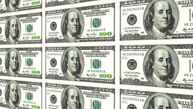 100 dollar bills in distance 3d perspective video