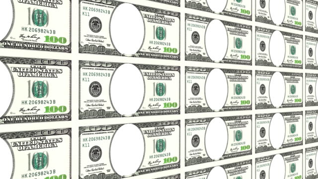 100 dollar bills with no face in 3d. Looped. video