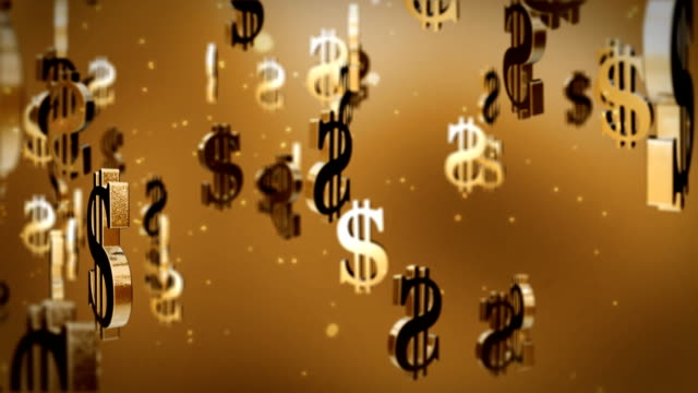 US dollar currency symbol flying video