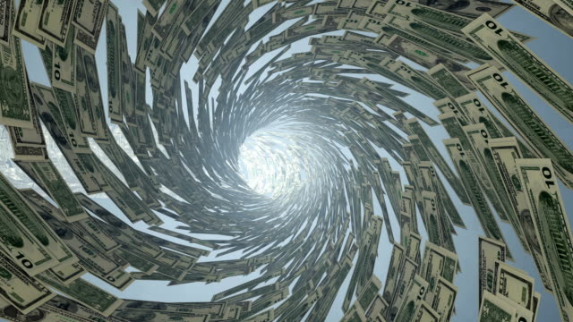 US Dollar currency tunnel fly through, bloom video