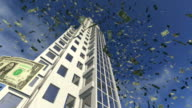 Dollar money fall from an animated skyscraper video