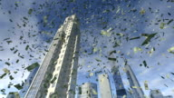 Dollar money fall from animated real buildings video