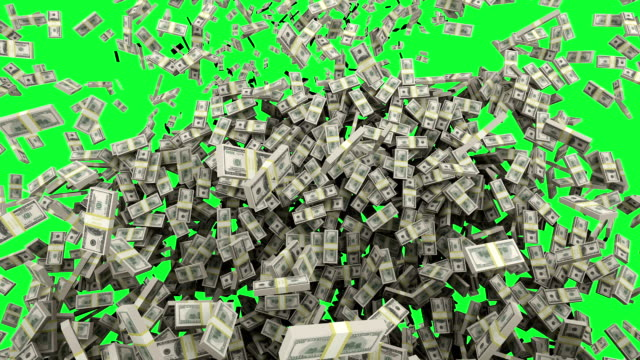 HD : Dollar money falling with Green Screen. video