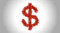Dollar Sign made by Orange Butterflies - Alpha video