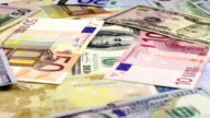 Dollars and Euro Banknotes Rotate video