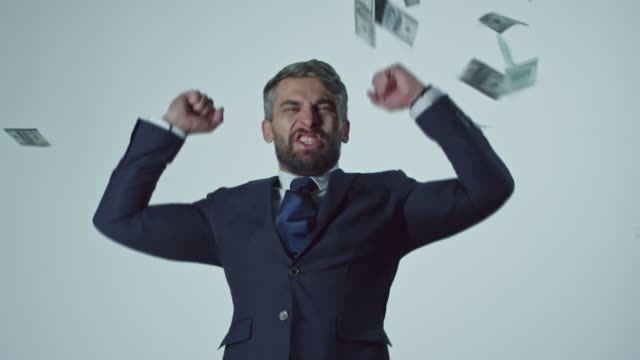 Dollars Falling on Ecstatic Businessman video