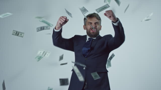 Dollars Falling on Successful Businessman video