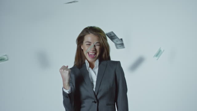 Dollars Falling on Successful Young Businesswoman video