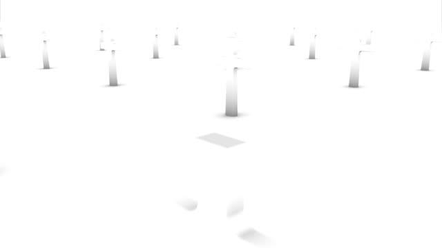 Dolly back diagonally from single cross revealing many crosses (white) video