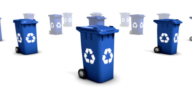 Dolly back diagonally from single Recycle Bin revealing many video