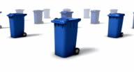 Dolly back diagonally from single Trashcan revealing many (Blue) video