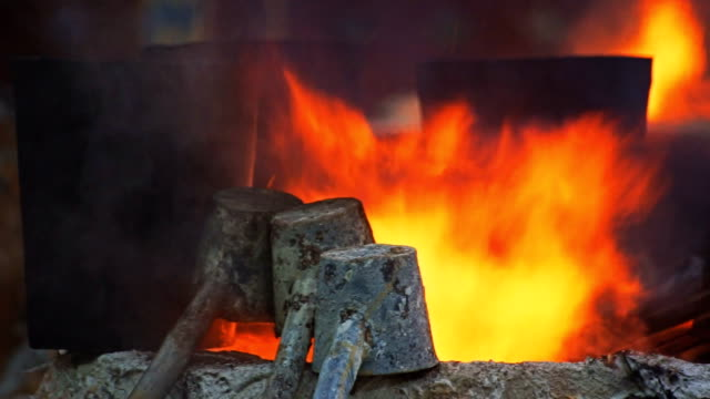 MS Dolly Fire in blast furnaces. Processing steel in iron foundry plant. video