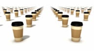Dolly forward over many Coffee Cups to none video