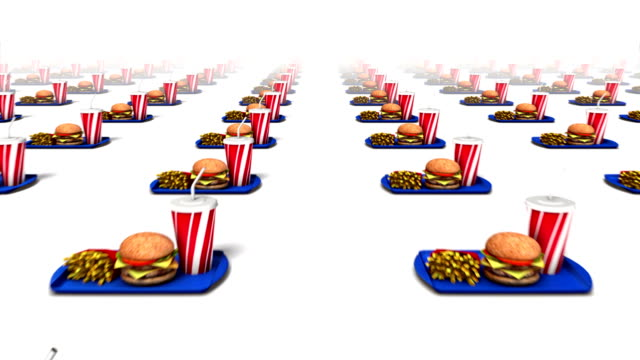 Dolly forward over many Fast Foods to none video