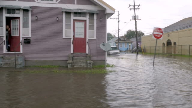 Dolly of flooded homes cars and streets during a flash flood in NOLA video