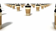 Dolly over many Coffee Cups to a single Cup video