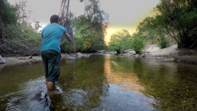 Dolly Shot: fisherman is fly fishing video