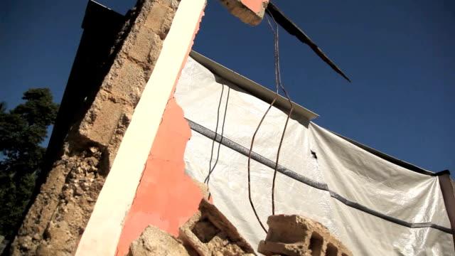 Dolly shot of earthquake rubble in Haiti. video