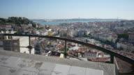 Dolly shot of Lisbon cityscape from Miradouro Senhora do Monte video