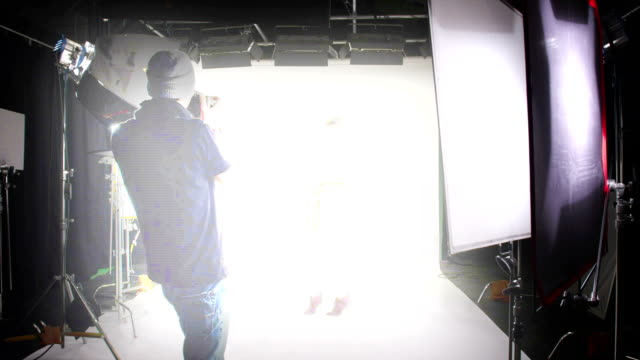 Dolly shot of professional photo shoot video