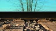 Dolly shot of Railroad Tracks Sideways video