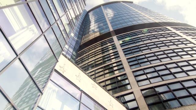 Dolly shot of tall skyscraper video