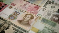 Dolly shot of various currency notes background. Dollar, Euro, Yuan, Lira, Kuna, Shekel and others video