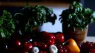 dolly shot, organic vegetables, healthy food concept video