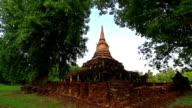 Dolly shot: Temple at Si Satchanalai historical park Sukhothai Thailand video