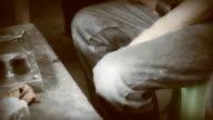 Dolly Shot: Worker polishing metal, Vintage Style. video