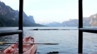 Dolly shot:Canoe at jetty video