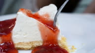 Dolly Shot:Cheese Cake serving and cutting video