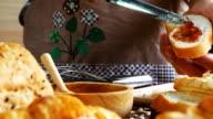 Dolly shot:Shot of Fresh bread Make strawberry jam. video