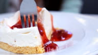 Dolly Shot:Strawberry cheese cake with serving and cutting video