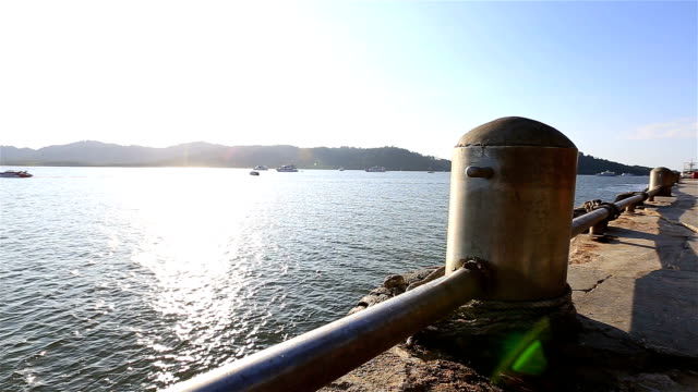 HD Dolly: Small fishing boat moored in the sea. video