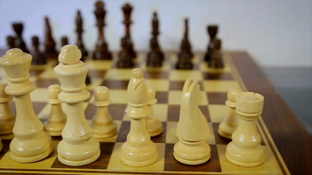 dolly, tracking shot of a chess party. White against black. Backlash video