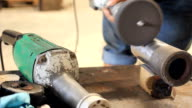 HD Dolly:Man working with an angle grinder video