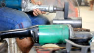 HD Dolly:Man working with an angle grinder. video