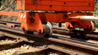 HD Dolly:Moving train wheels on the tracks. video