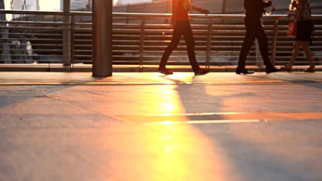 HD Dolly:People walking on a public footpath. video