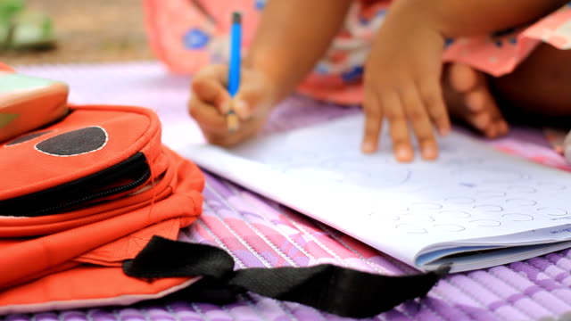 HD dolly:Writing books for children in the park. video