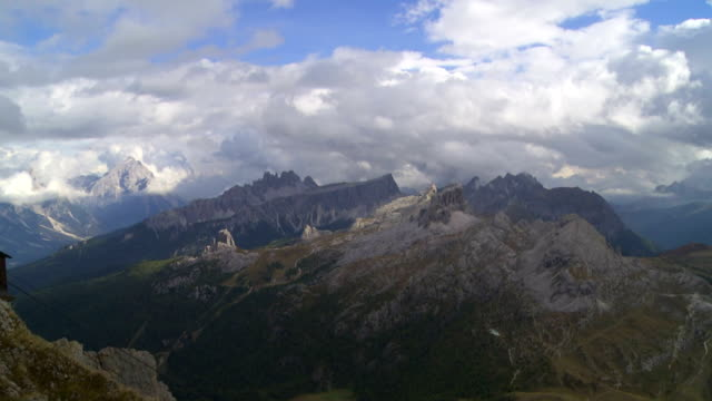 Dolomites Mountains Viewed from Mt. Lagazuoi PAN TL video
