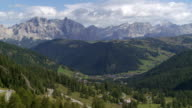 Dolomites Mountains Viewed from the Gardena Pass PAN TL video