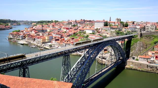 Dom Luis I bridge in Porto in Portugal in a summer day video
