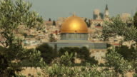 Dome of the Rock Mosque with Jerusalem and Olive Branches video