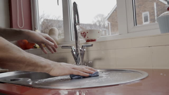 Domestic Male Doing The Household Chores video