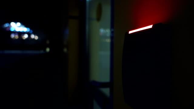 Door access control unit at night video