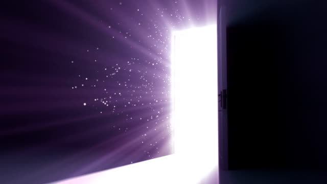 Door opening to a heaven light. Flares flying. HD 1080. video