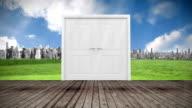 Door opening to city video