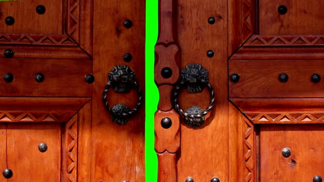 Door opening with chroma key. Door for transition to new video video